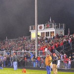 "The haze of the ""TD Cannon"" hangs over the SV bleachers."