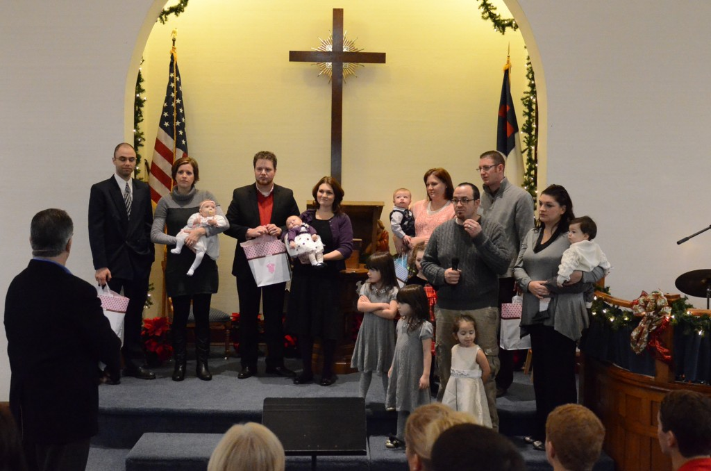 Young church families at the Red Brick Church in Stillman Valley